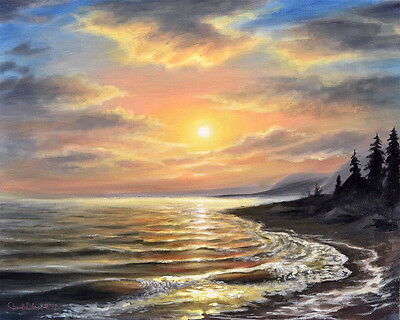Original Art - Sunset Over Lake Shore Painting on Canvas - Signed by Chuck Black
