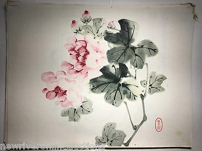 Original Japanese Sumi-E Painting Pink Flowers Oban size artist unknown