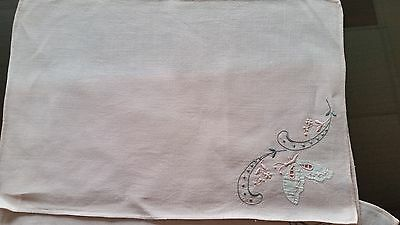 Vintage Rose Colored Placemats with Cut Work Butterfly and Embroidery set of 4