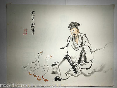 Original Japanese Sumi-E Painting Man with Geese oban size artist unknown