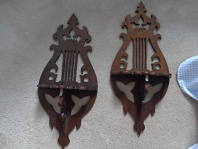 Beautiful Set of 2 Lyre Wall Shelves