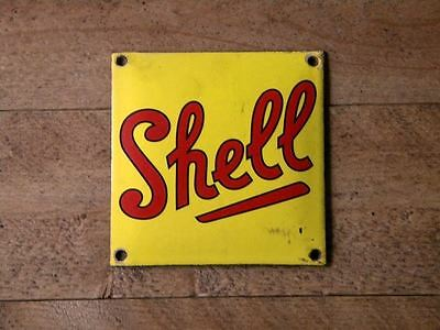 """SHELL PORCELAIN METAL SIGN ~4"""" x 4"""" GAS STATION OIL PUMP LUBESTER ADVERTISING"""