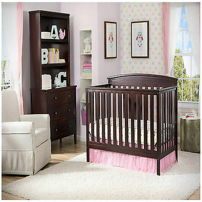 Convertible Baby Crib 4 in 1 Mattress Nursery Toddler Bed Changer Side Daybed