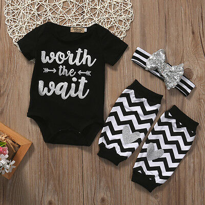 US Seller 3pcs Newborn Baby Romper Jumpsuit Bodysuit+Pants Clothes Outfits Set