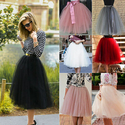 7 Layer Tulle Skirt Womens Party Dress 50s Rockabilly Tutu Petticoat Ball Gown