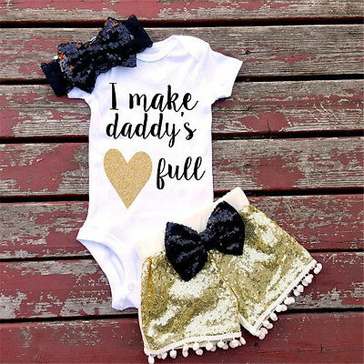 USA Newborn Infant Baby Boys Girls Romper+Sequins Pants Headband Outfit Clothes