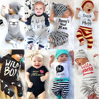 US Stock Newborn Baby Boys Girl Kid Top Romper Pants Bodysuit Outfit Set Clothes