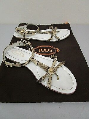 TOD'S MADE IN Italy Snakeskin Ankle Strap Flat 6 Sandalo Size 6 Flat 1 2   177e87