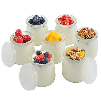 VonShef Set of 7 Spare Replacement 200ml Yoghurt Maker Glass Jars Pots with Lids