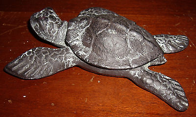 Bronze Loggerhead Sea Turtle Paperweight Sculpture 6""
