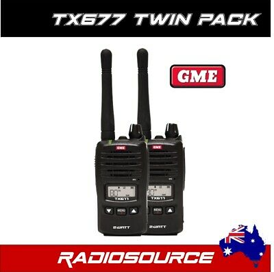 Gme Tx677 Tp 2 Watt Twin Pack Uhf Cb Handheld Radio 80 Channel Complete Package