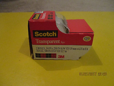 "Scotch Transparent Tape (3/4"" x 250"") - 2 Pack"