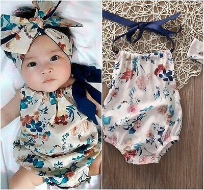 2PCS Newborn Infant Baby Girl Floral Romper Jumpsuit Headband Outfit Clothes US