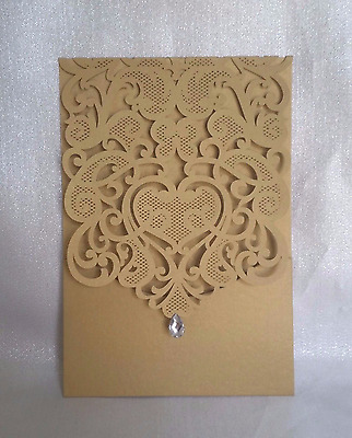 50x Laser Cut Wedding Invitations Gold Pocket Card and White Envelope