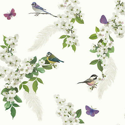 Stunning White Green & Purple Floral Birds & Feathers Wallpaper - 10m Roll - NEW