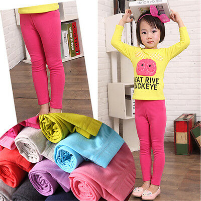 dLittle Kids Baby Girls Solid Candy Colors Cotton Legging Pants Summer Trousers