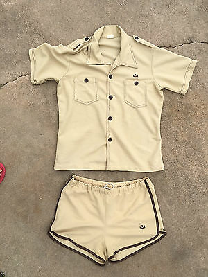 Vintage SEars Kings Road Beige Button up safari shirt Shorty Swim Trunks L