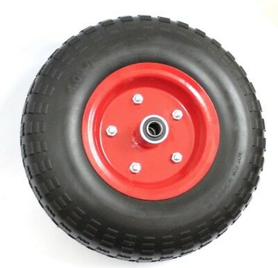 """2 x 13"""" 330mm Hand Trolley Wheels Tyre Red Rim 16mm Bore Puncture Proof No Flat"""