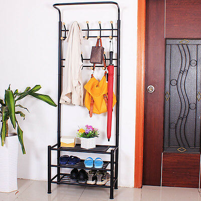 Metal 2 in 1 Coat Stand Shoe Rack with 18 Hanging Hooks for Umbrella Hat Bags