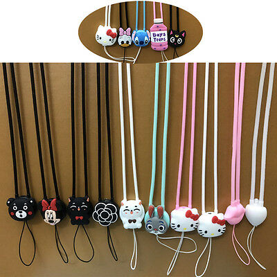 3D Cute Animals Soft Silicone Cartoon Strap Cell Phone Lanyard Neck Tag Camera