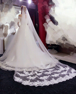 White Elegant 1T Cathedral Applique Edge Lace Bridal Wedding Veil With Comb UK*