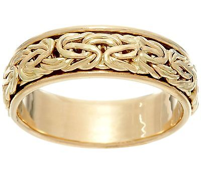 Polished Framed Spinner Byzantine Band Ring Real 14K Yellow Gold Szs 5 6 7 8 10