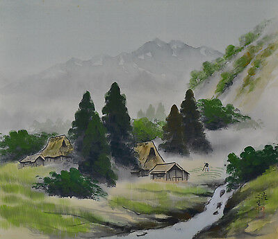Japanese old hanging scroll KAKEJIKU Asian Art Painting Mountain River Landscape