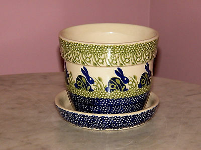 Genuine Hand Made Polish Pottery Large Flower Pot with Saucer! Bunny Pattern!