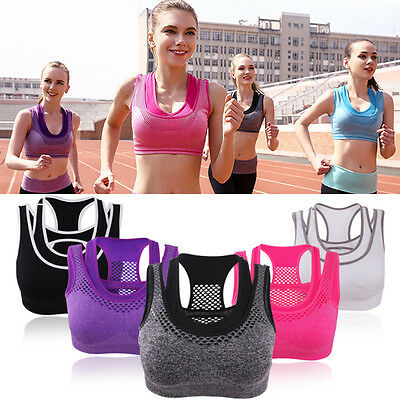 UK Women Running Sports Bra Yoga Gym Workout Vest Crop Tops Shapewear Padded Bra