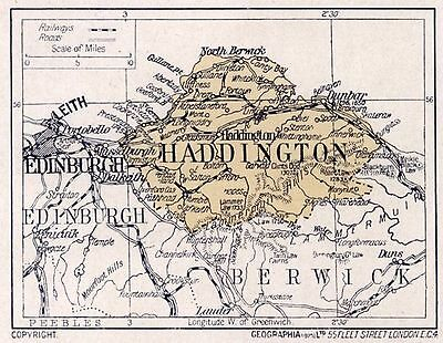1923 map of Scotland: old Haddington ready-mounted antique print SUPERB