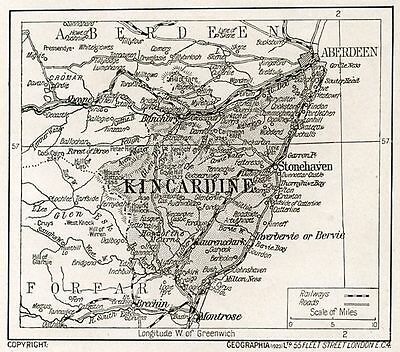 1923 map of Scotland: Kincardineshire ready-mounted antique print SUPERB