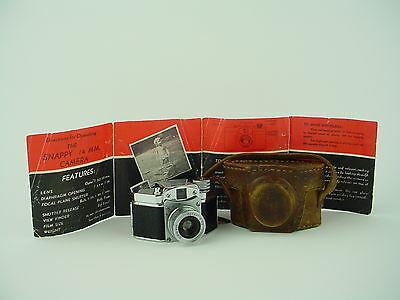 Snappy 14x14 Vintage Subminiature Spy Camera w/ Leather case & Manual - Rare