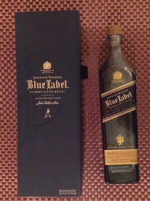Johnnie Walker BLUE LABEL Blended Scotch Whiskey 750mL Empty With Box Looks NEW!