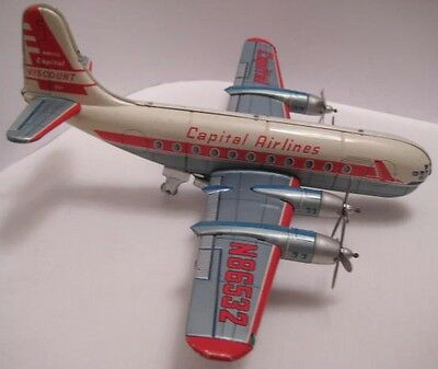 """Old Tin Toy Airplane Capitol Airlines 14"""" Wing Span Line Mar Japan 1950s as is"""