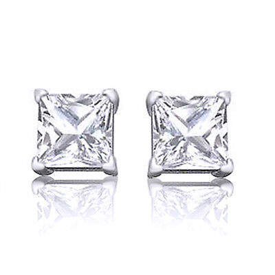 2 Ct White Topaz Square Princess Cut Stud Earrings 14kt Gold
