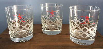 3~Johnnie Walker Scotch Whisky Red Label Rocks Glass Tumblers Etched Crisscross