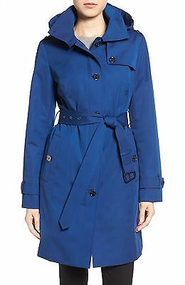 Michael Kors Women's Royal Blue Single Breasted Hooded Trench Coat Jacket Size S