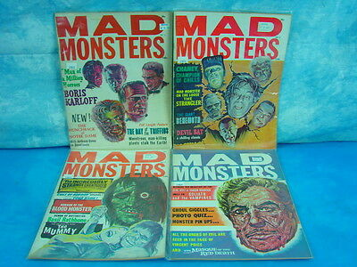 Vintage lot of 4 Sci Fi Horror Mad Monsters Comics magazines Collectible