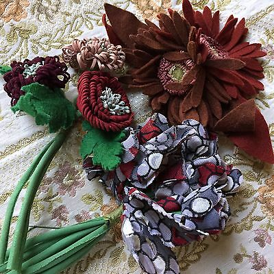 Millinery Flowers Antique French Art Deco Felt Cloth Dress Hat Lot of 3 Bunches