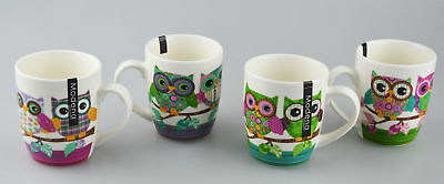 New Bone China Mugs Set of 4 Owl Design Tea Coffee Home Kitchen Office Cups