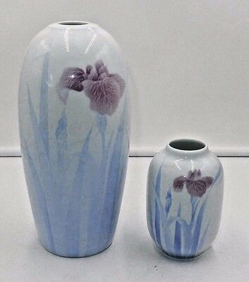 Set Of 2 Beautiful Fukagawa Porcelain Arita Japan Vases