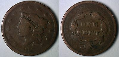 1837 Copper Coronet Head US American Large Cent Type Coin G