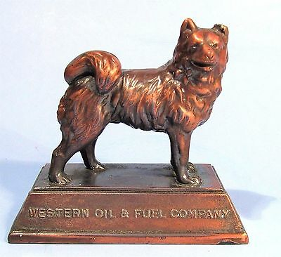 Western Oil & Fuel Co Husky Dog Mascot Vintage Metal Advertising Paperweight
