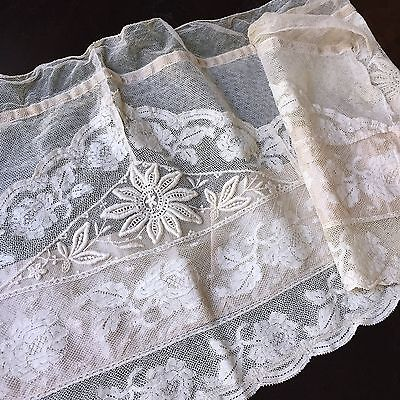 Antique Valance Valenciennes Net Lace Curtain 1900s French Trim Edge Roses Silk