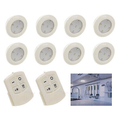 8 Pack White 5 Smd Led Under Cupboard Lights + Remote Control Wireless Cordless