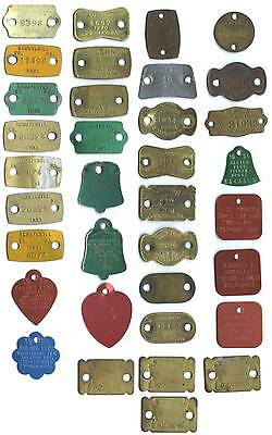 Dog License Tags Lot Of 35 Different 1918 To 1989
