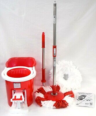 NEW Telebrands Hurricane 360-degree Spin Mop+Bucket in RED As Seen on TV Magic