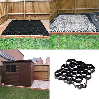 8' x 6' SHED BASE KIT - WEED FABRIC & 48 X-GRID PLASTIC PAVER GRIDS Drive Path