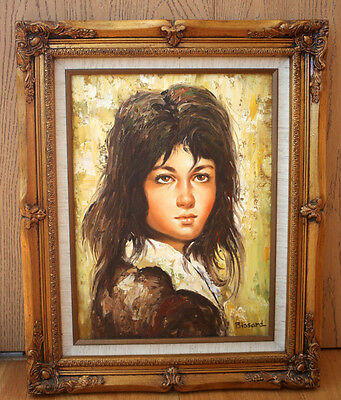 Original Oil Painting on Canvas - Young lady, girl portrait. Signed by Bissard