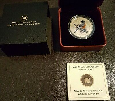 2013 25 -Cent Colored Coin - American Robin - Canadian Mint